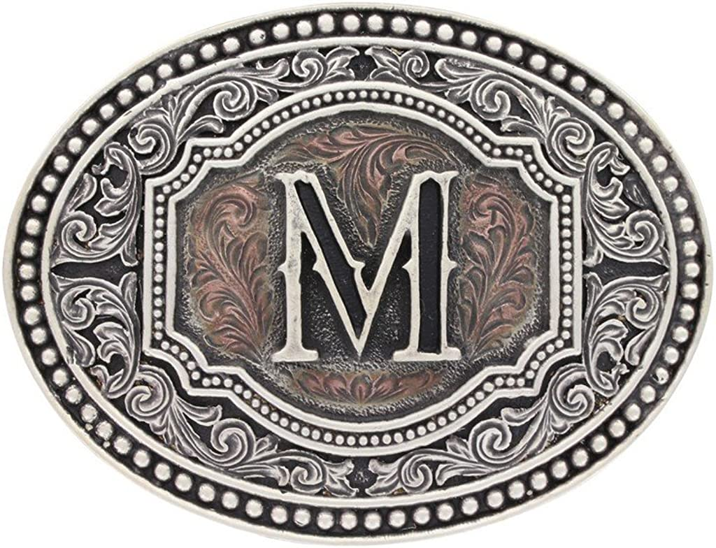 Montana Silversmiths Men's Initial Two Tone Cameo Buckle - A518 (M): Clothing