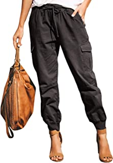 Womens Casual Stretch Drawstring Skinny Pants Cargo Jogger Pants High Waisted Tie Butt Lift Pant with Pockets