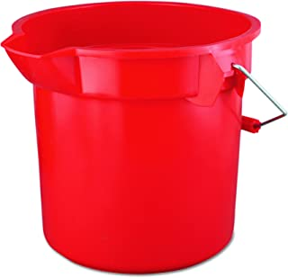 Rubbermaid Commercial 14 Qt BRUTE Heavy-Duty, Corrosive-Resistant, Round Bucket, Red (FG261400RED)