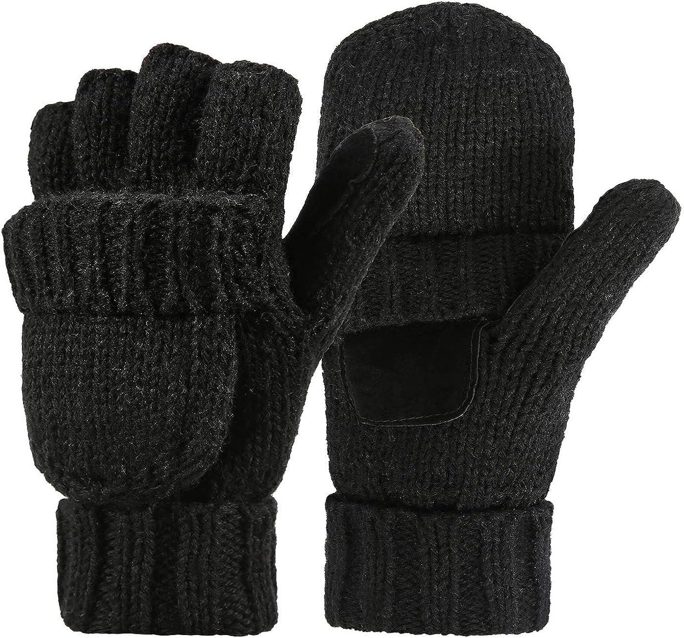 Variety To Go Winter Knitted Fingerless Gloves Convertible Wool Mittens Warm Glove Women & Men