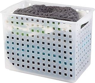 "InterDesign Plastic Open Weave Storage Organizer Bin with Handles for Kitchen, Fridge, Freezer, Pantry, and Cabinet Organization, BPA-Free, 8.63"" x 8.5"" x 13.88"", Clear"