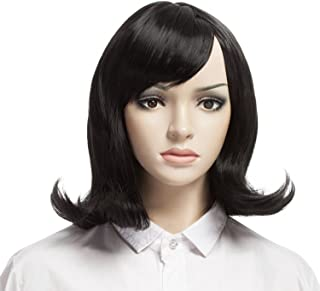 YOPO Wig, Short Wavy Black Wigs for Women, 16'' Cosplay Medium Length Wig(Black)