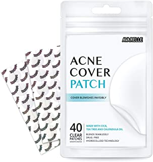 Avarelle Acne Absorbing Cover Patch Hydrocolloid Spot Treatment with Tea Tree Oil, Calendula Oil and Cica, Vegan, Cruelty Free Certified (40 Count)