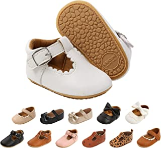 Baby Girls First Walking Shoes Bow-Knot Mary Jane Flats Adjustable PU Leather Anti-Slip Soft-Soled Princess Shoes Infant G...