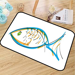 RelaxBear Fish Welcome Door mat Maritime Image Contour Drawing Aquarium Animal Vibrant Colors Cartoon Style Door mat is odorless and Durable W31.5 x L47.2 Inch Blue Orange Green