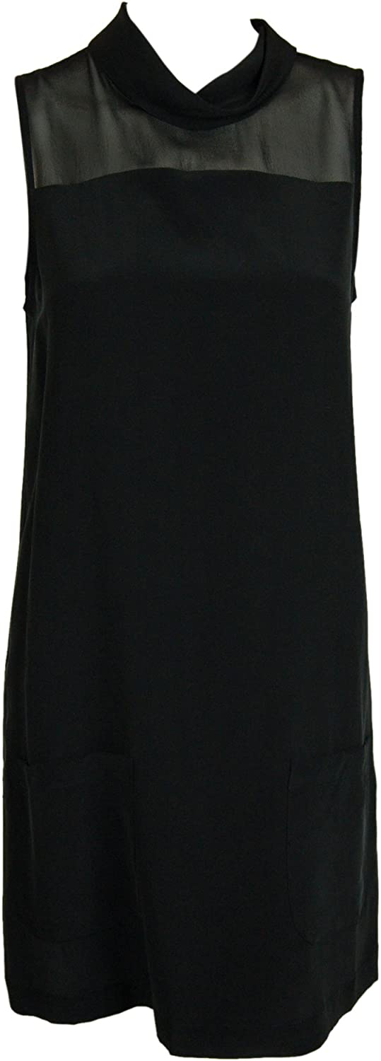 Joie Womens Caviar Sarie Sleeveless Pocket Silk Shift Dress S