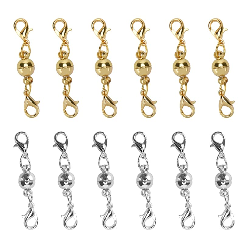 I-MART Set of 12 Pcs Gold Color and Silver Color Ball Tone Magnetic Lobster Clasps for Jewelry Necklaces Bracelets (6 Pcs Gold and 6 Pcs Sliver)