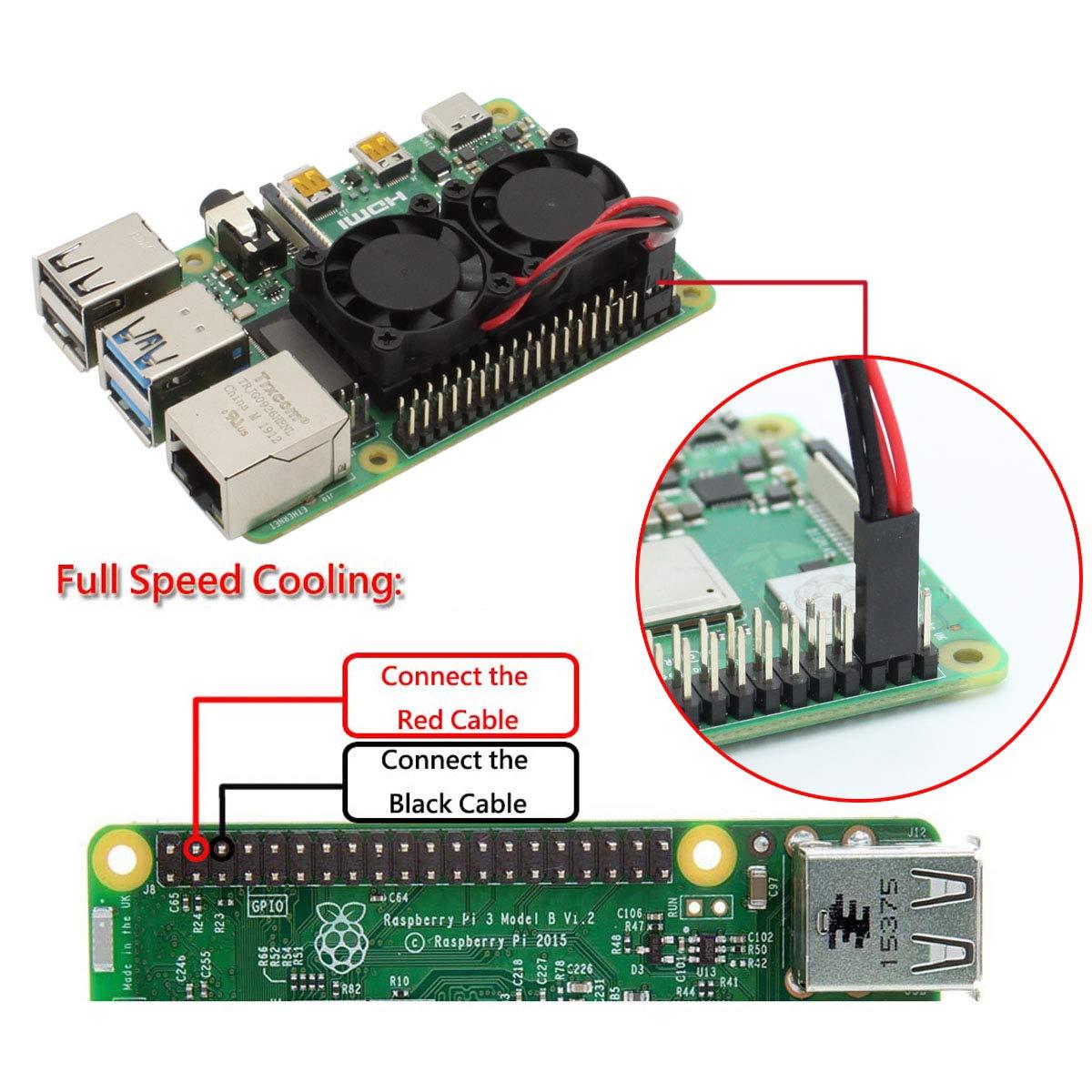 iuniker Raspberry Pi 4 ventilador dual con disipador de calor ...