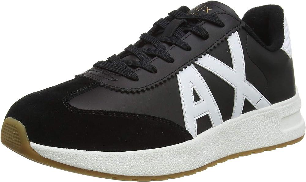 Armani exchange sneakers, scarpe da ginnastica uomo leather suede in pelle  e camoscio XUX071XV234A120
