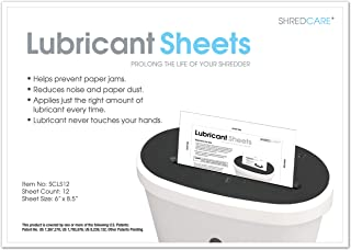 "Shredcare Paper Shredder Lubricant Sheets SCLS12 (Pack of 12) 8.5"" x 6"""