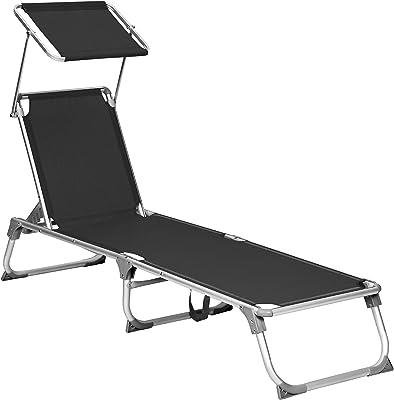 SONGMICS Sun Lounger, Sunbed, Reclining Sun Chair with Sunshade, Adjustable Backrest, Foldable, Lightweight, 55 x 193 x 31 cm, Load Capacity 150 kg, for Garden, Patio, Black GCB019B01