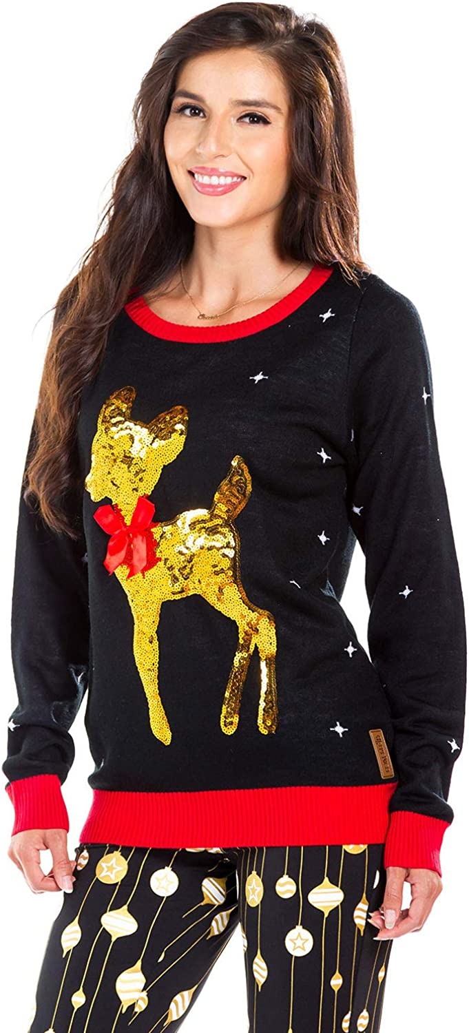 Tipsy Elves Women's Sequin Little Deer Christmas Sweater  Baby Deer with Bow Ugly Christmas Sweater