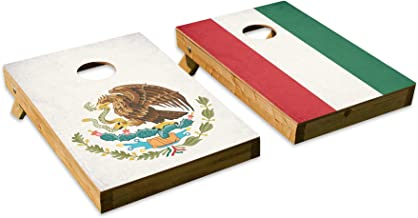 Mexican Flag DesignCornhole/Bean Bag Toss Board Set – Made in USA Wood - 2'x3' Tailgate Size - Includes 8 Corn-Filled Bean Bags