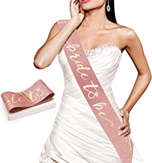 Konsait Glitter Pink Rose Gold Bride to Be Sash-Rose Gold Bachelorette Sash- Bride Gift - Engagement Bachelorette Bride to Be Decoration for Bride Bride Shower Gift Girls Ladies Night Out Accessories
