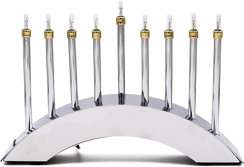 Electric Menorah Hanukkah Contemporary Menora Highly Polished Chrome Low-Voltage Electric Chanuka Menora
