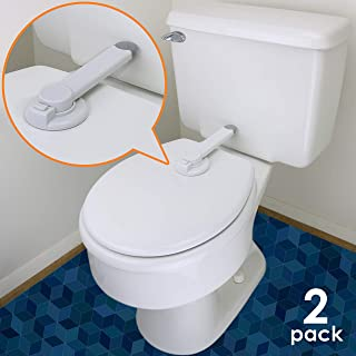 Baby Toilet Lock – Ideal Baby Proof Toilet Lid Lock with Arm – No Tools Needed Easy Installation with 3M Adhesive – Top Safety Toilet Seat Lock – Fits Most Toilets – White (2 Pack, White)