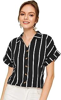 SweatyRocks Women's Loose Short Sleeve Casual T-Shirt Graphic Print Tee Tops