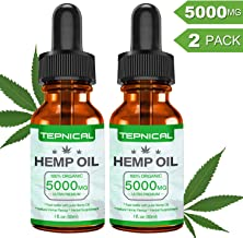 Hemp Oil with 5000mg of Organic Hemp Extract for Pain, Anxiety & Stress Relief - 100% Natural Hemp Oil Drops, Helps with Sleep, Skin & Hair(2-Pack/60ML)