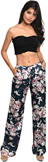 Women's Teal Floral Wide Legged Women's Pants with Pockets