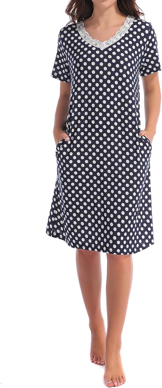 TOP-VIGOR Nightgowns for Women, Cotton Sleep Shirts Sleepdress, Printed Sleep Tee Nightshirt, Womens Ladies Pajamas Sleepwear