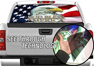 P327 American Flag Eagle Tint Rear Window Decal Wrap Graphic Perforated See Through Universal Size 65