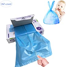 Disposable Scented Diaper Bags for Baby, Diaper Sacks Mask the Incontinence Odor Really, Fresh Light Baby Powder Scent, 180 Counts, Blue