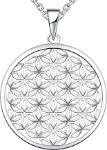 JO WISDOM 925 Sterling Silver Flower of Life Pendant Necklace with White Gold Plated,18+2