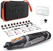 TACKLIFE Cordless Rotary Tool Powerful 8V Motor 2.0 Ah Li-ion Battery with 43 Accessories and Shield Attachment, Long Endu...