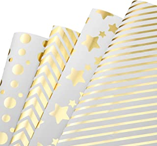MOOKLIN ROAM Papier Cadeau, Lot de 4 papier d'emballage d'or Motif en Points et Étoiles pour Anniversaire, Vacances, Maria...