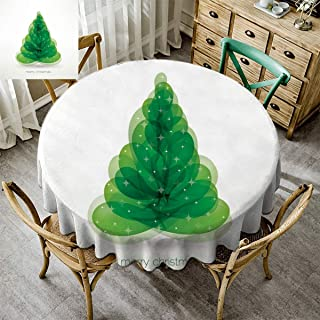 Kmydt Merry Christmas, Round Tablecloths for Circular Table, Christmas Decoration Water Resistant Spill Proof Tablecloths for Dining Kitchen Xmas Abstract Christmas Tree Green - 39