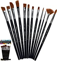 YXQSED-Artist Paint Brush Set 15 Different Shapes /& Sizes Wood Handles For Body Paint Brush Set Round Pointed Tip Nylon Hair Artist Acrylic Brush for Watercolor Oil Crafts Face Painting Black Set