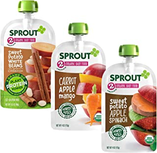 Sprout Organic Stage 2 Baby Food Pouches, Variety Pack, 4 Ounce (Pack of 15) 5 of Each: Sweet Potato White Bean Cinnamon, ...
