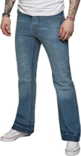 APT Mens Designer Basic Bootcut Flared Wide Leg Blue Denim Jeans - Range of Waist