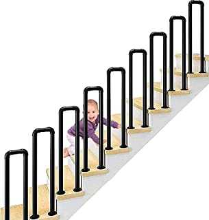 Poręcze antypoślizgowe SACKDERTY, poręcze stopniowe w kształcie litery U Vintage poręcze schodowe z kutego żelaza Łatwa in...