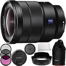 Sony 16-35mm Vario-Tessar T FE F4 ZA OSS E-Mount Lens + 3 Piece Filter Kit (UV + CPL + FLD) + More (Renewed)