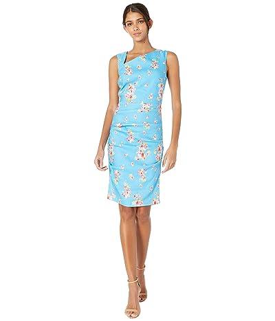 Nicole Miller Pink Dawn Stretch Linen Asymmetrical Dress (Bahama Blue) Women