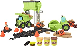 Play-Doh Wheels Gravel Yd Construction Toy with Non-Toxic Pavement Buildin' Compound Plus 3 Additional Colors