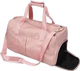 حقيبة رياضية للنساء مع جيب رطب وحجرة حذاء للسباحة وساعة سفر مضادة للماء مع حقيبة من القماش الخشن (حقيبة جي أسود)