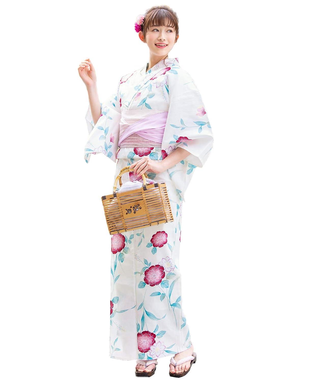 (ソウビエン)レディース浴衣セット 白系 オフホワイト 赤 牡丹 ボタン 花 綿 女性 花火大会