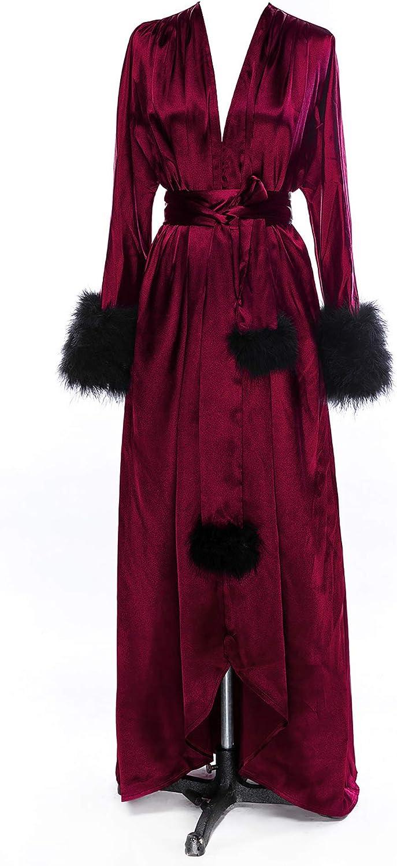 Changuan Silk Satin Kimono Robe Long Bridesmaid Wedding Bath Robe Sleepwear with Feathers Trim