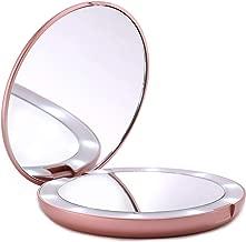LUNA London LED Lighted Compact Makeup Mirror | 1x/7x Magnifying, Illuminated, Portable, Folding | Perfect for Handbag, Pocket & Travel Beauty Needs | Matte Rose Gold