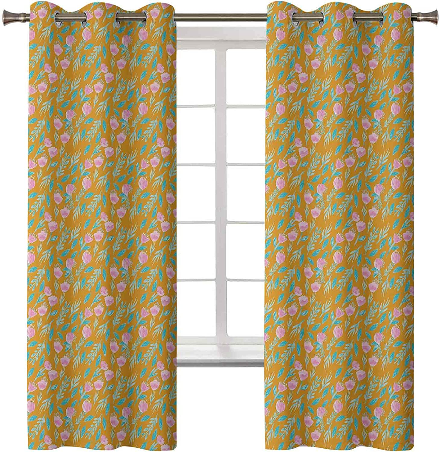 Floral Curtains Drapes Watercolor Boston Mall discount Flower Branches Artwork of