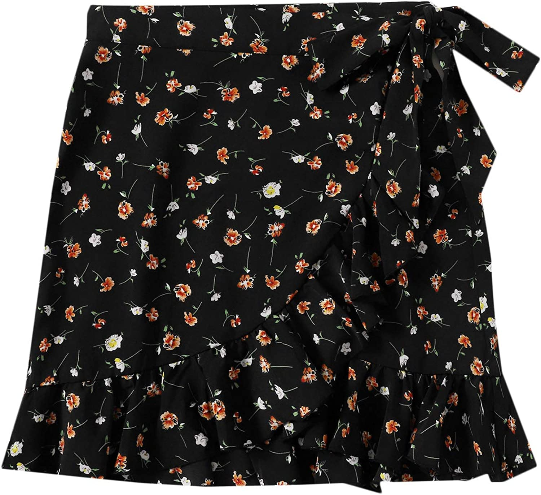 SheIn Women's High Waist Ditsy Floral Print Mini Skirt Tie Side Wrap Skirt