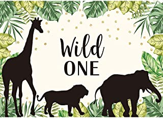 Allenjoy 7x5ft Wild One Theme Backdrop Safari Jungle Animals Theme Photography Background Baby Boy First 1st Birthday Party Banner Golden Dots Cake Table Decorations Photobooth Studio Props