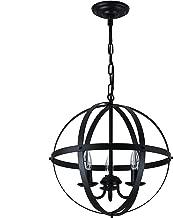 Pendant Light Industrial Globe Chandelier Vintage Metal Spherical Lantern Chandelier Swag Ceiling Lighting Fixture