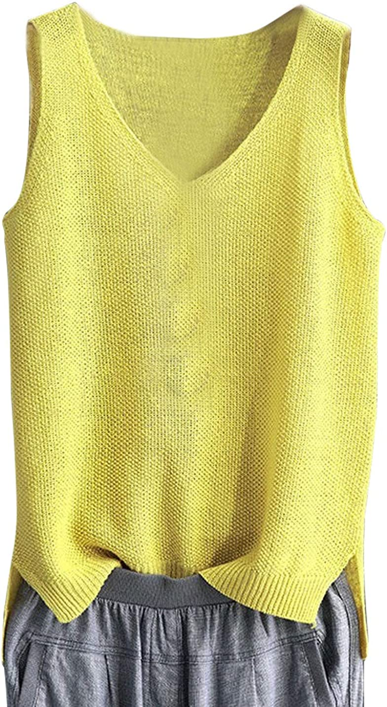 Year-end annual account PUWEI Women's V Neck Sleeveless Knit Summer Tshirts B OFFicial Loose Vest