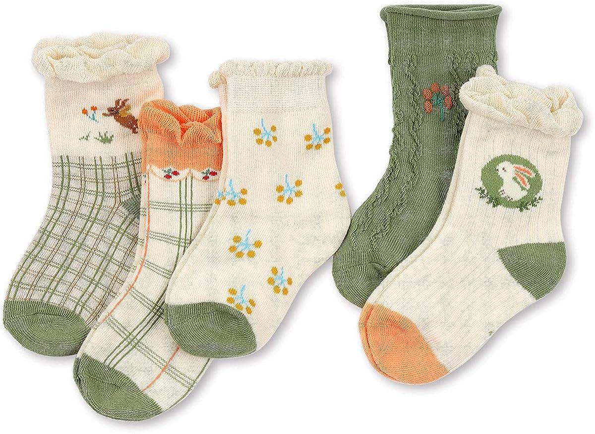 HOOLCHEAN Girls Retro Soft Cotton 5 Pack Ruffle Frilly Crew Socks