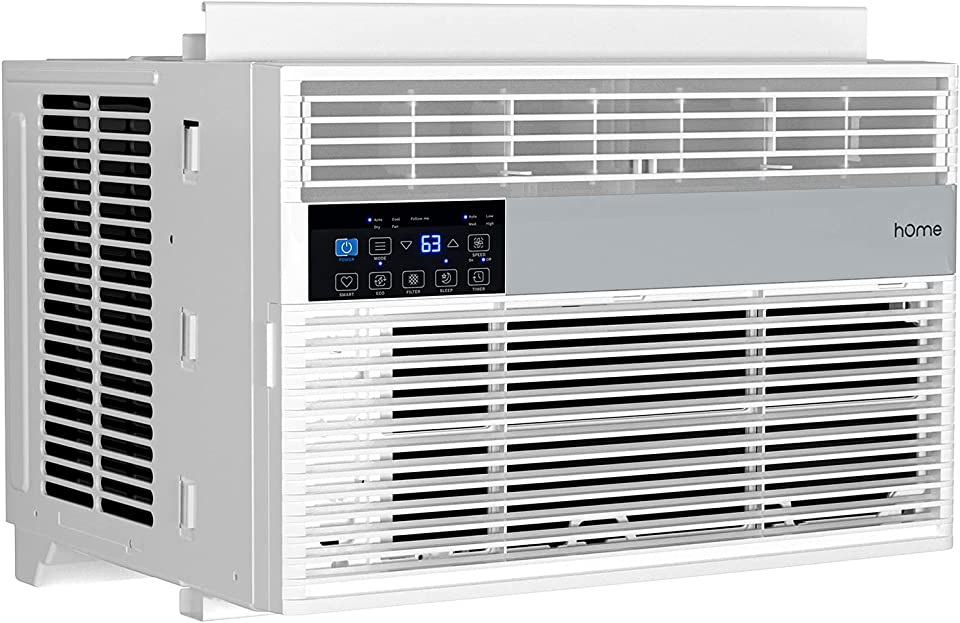 hOmelabs 6,000 BTU Window Air Conditioner with Smart Control – Low Noise AC Unit with Eco Mode, LED Control Panel, Remote Control, and 24 hr Timer