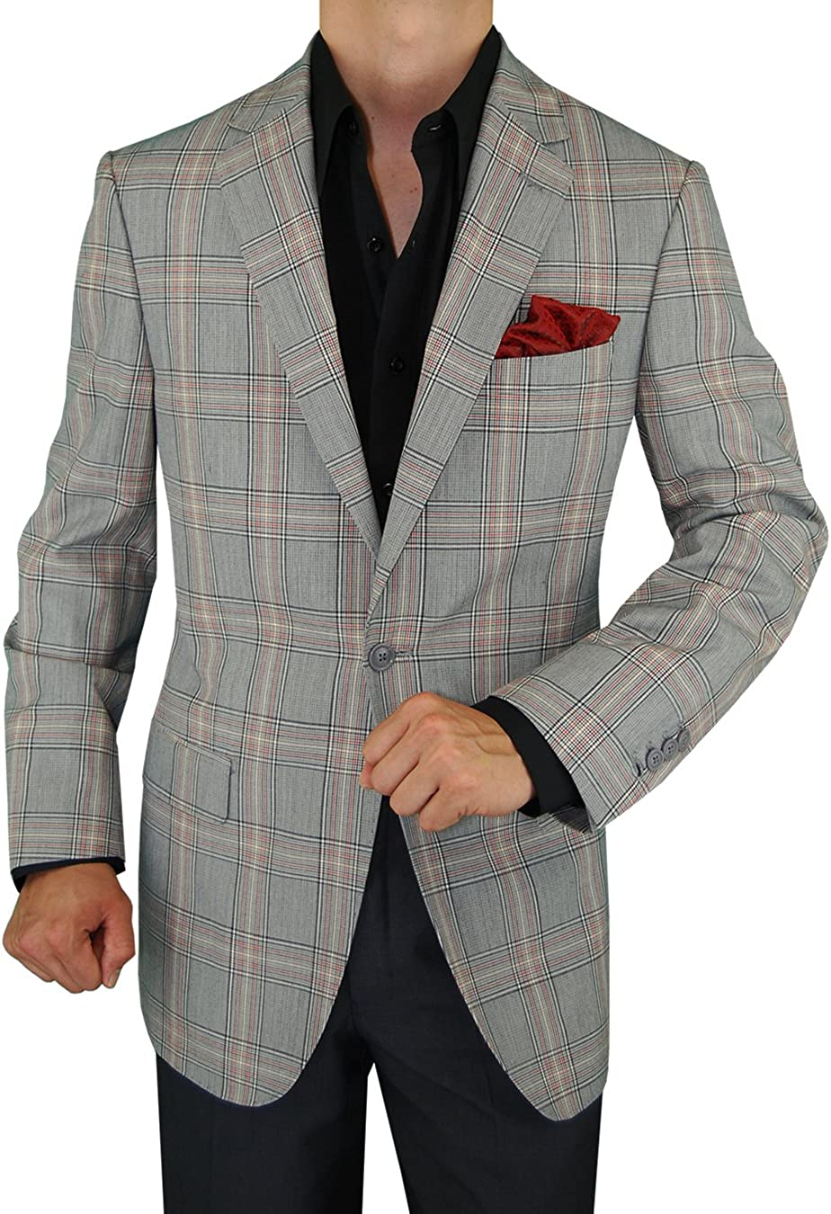 DTI GV Executive Men's Italian Wool Suit Jacket Modern Fit One Button Blazer