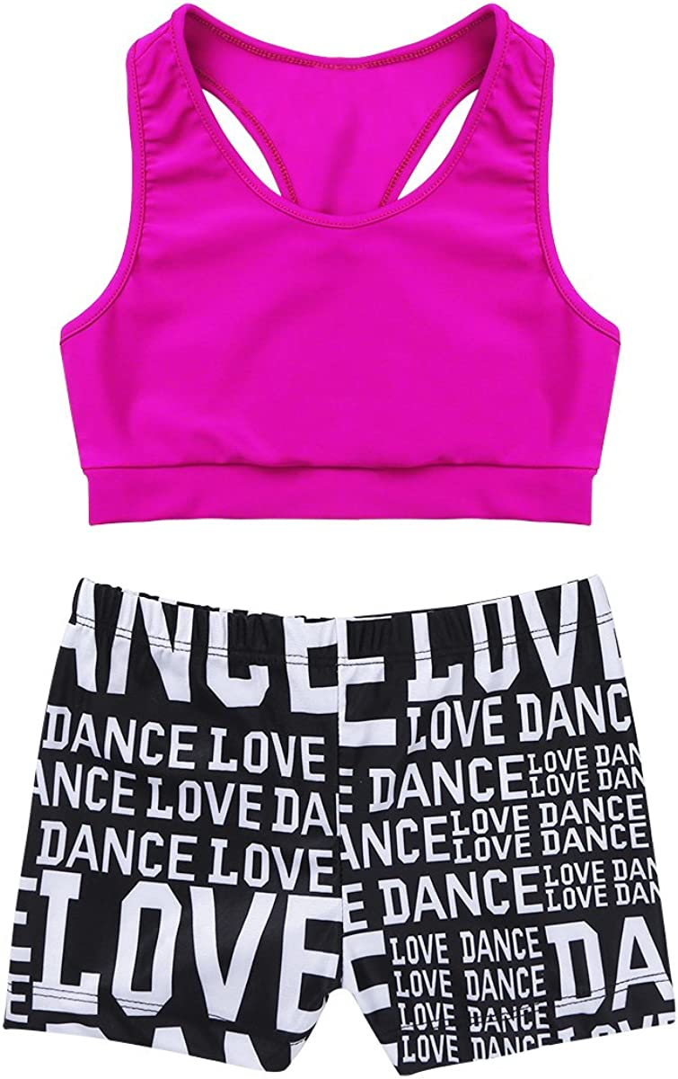 MSemis Girls' Kids 2-Piece Active Set Dance Sport Outfits Racer Back Top and Booty Short Gymnastics Dancing Clothes : Sports & Outdoors